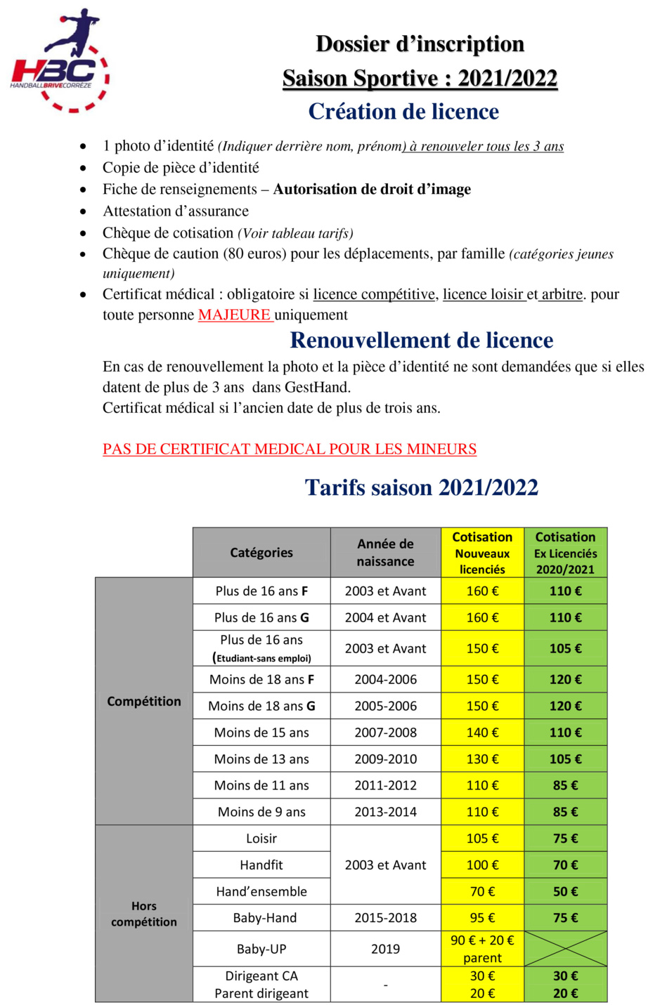 Dossier Inscription 2020-2021