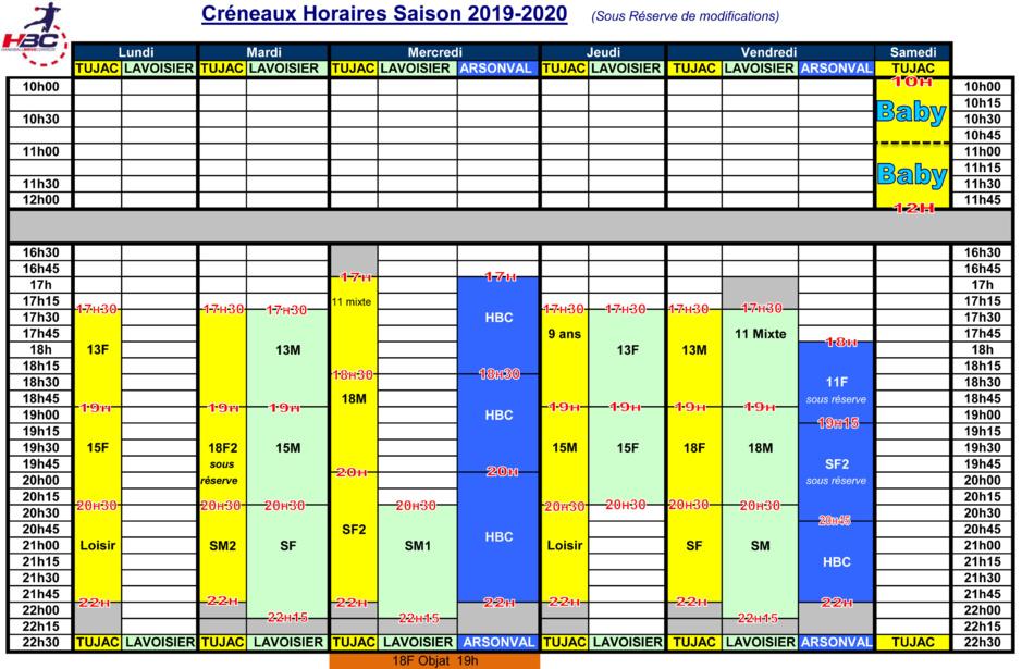 CRENEAUX HORAIRES 2016-2017