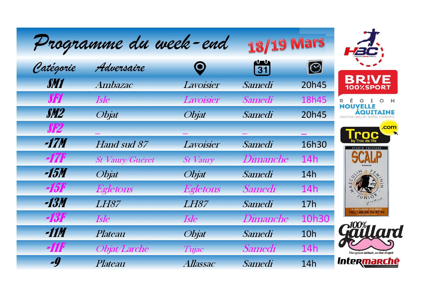MATCHS DU WEEK-END