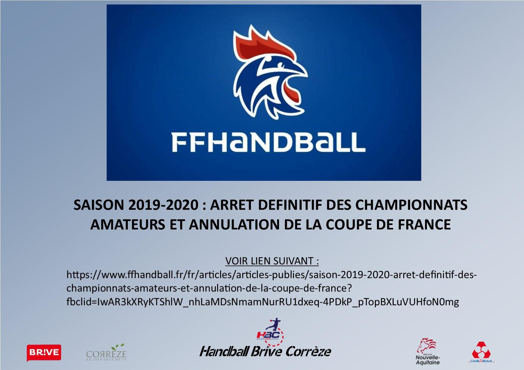 SAISON 2019-2020 : ARRET DEFINITIF DES CHAMPIONNATS AMATEURS ET ANNULATION DE LA COUPE DE FRANCE